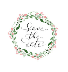 Save the date card with watercolor floral wreath vector