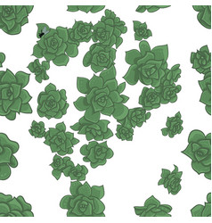 seamless of succulents on white background vector image
