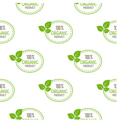 Seamless pattern green logo organic vector