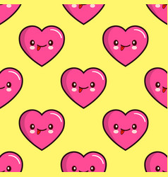 Seamless pattern of smiling hearts on yellow vector