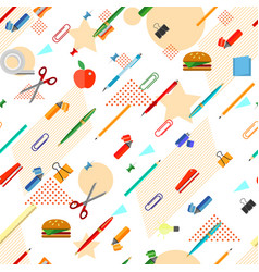 Seamless school office supplies pattern vector