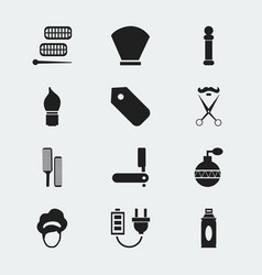 Set of 12 editable barber icons includes symbols vector