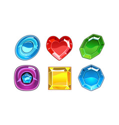 set of 6 glossy gemstones of different vector image