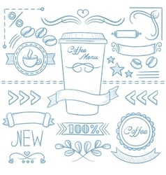 Set of labels ribbons frames for coffe menu vector