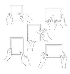set tablet screen with hands vector image