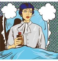 Sick woman with fever lie down on a bed in vector image