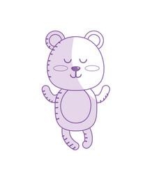 Silhouette cute bear boy wild animal character vector