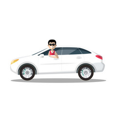 smiling man in sunglasses driving car isolated on vector image