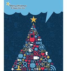 Social media networks Christmas tree vector image vector image