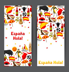 Spain banners design spanish traditional symbols vector
