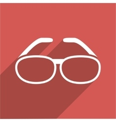 Spectacles Flat Longshadow Square Icon vector