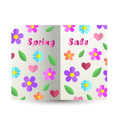 Spring sale text design card paper cut out book vector