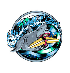 Surfing t-shirt designsangry shark vector