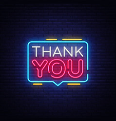 Thank you neon text thank you neon sign vector