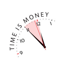 Time is money concept in five minutes twelve vector