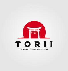 torii gate logo design japanese religion symbol vector image