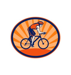Triathlon athlete riding cycling bike vector image