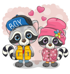 Two cute cartoon raccoons boy and girl vector