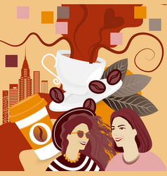two girls over coffee cup background break vector image