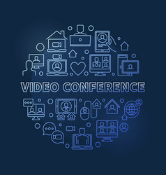 video conference round blue outline vector image