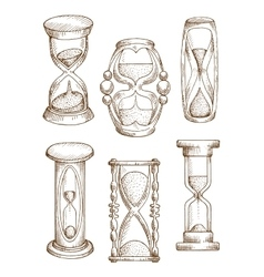 Vintage and modern hourglasses sketch icons vector