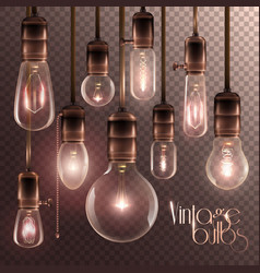 vintage glowing light bulbs transparent set vector image