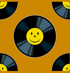 vinyl record with yellow smile seamless vector image