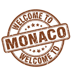 welcome to monaco brown round vintage stamp vector image
