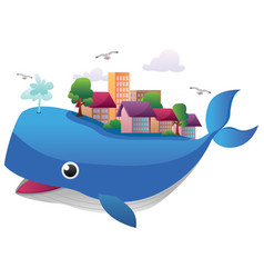 whale town on white vector image