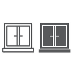 Window line and glyph icon architecture and home vector