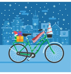 Winter Bike With Christmas Gifts vector image