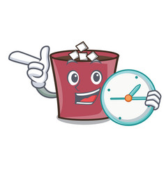 With clock hot chocolate character cartoon vector