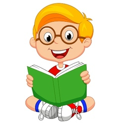 Young boy cartoon reading book vector