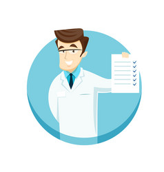 Young doctor with a check sheet vector