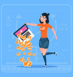 girl hold laptop with thumb up modern video vector image vector image