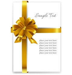 Gold gift bow with ribbons vector image vector image
