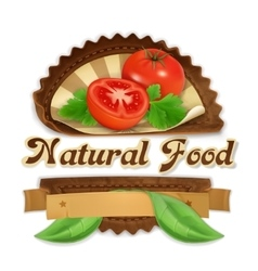 Juicy tomatoes label design vector image