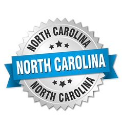 North carolina round silver badge with blue ribbon vector