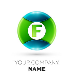 realistic letter f logo symbol in colorful circle vector image vector image