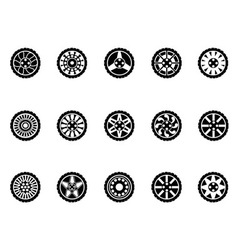 tire icons set vector image