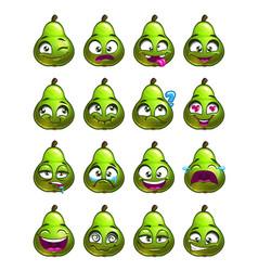 cartoon pear character emotions set vector image