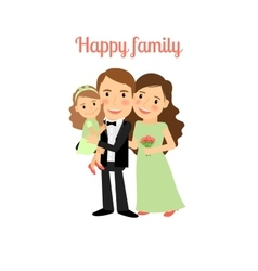 Happy family with young daughter vector image vector image