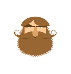 hipster face isolated beard and mustache head vector image