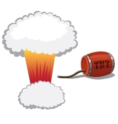Red barrel of dynamite and a bomb blast vector image vector image