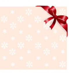 red ribbon on snowflakes background vector image vector image