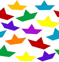 Seamless with colored paper boats vector image vector image