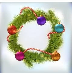 Christmas wreath decorated vector image vector image