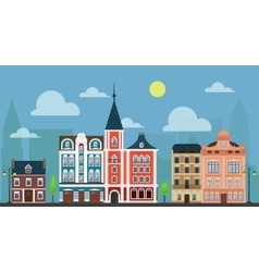City town cityshape Luxury old fashioned houses vector image