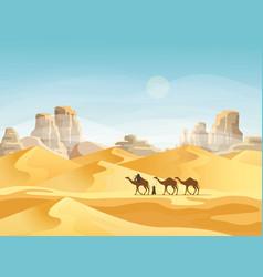 desert with convoy or camel caravan vector image vector image