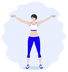 Girl with dumbbells vector image vector image